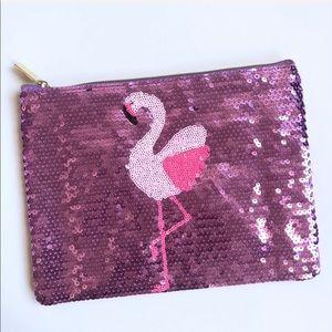 NWT Tarte Sequins Flamingo Make-Up Bag